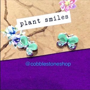 Butterfly green acrylic silver tone stud earrings